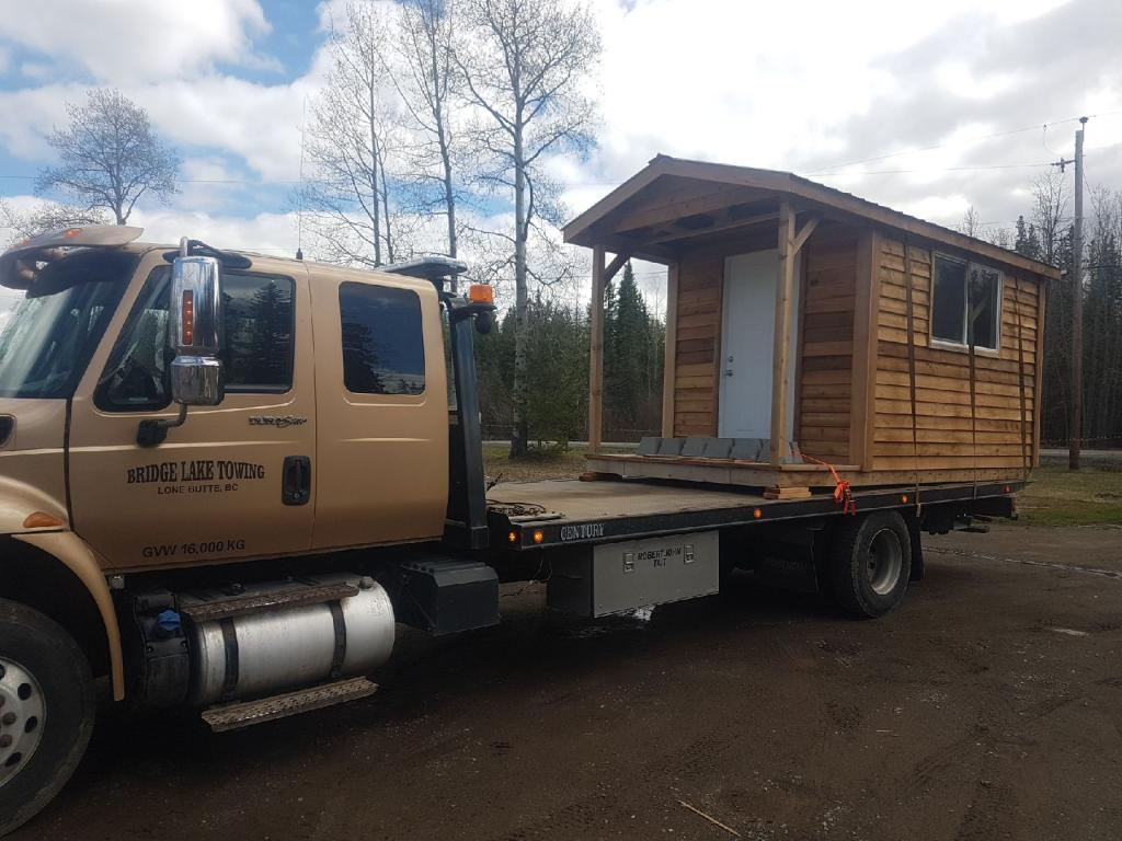 towing of a wooden house